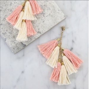 Ettika Pink and Gold Tassel Earrings
